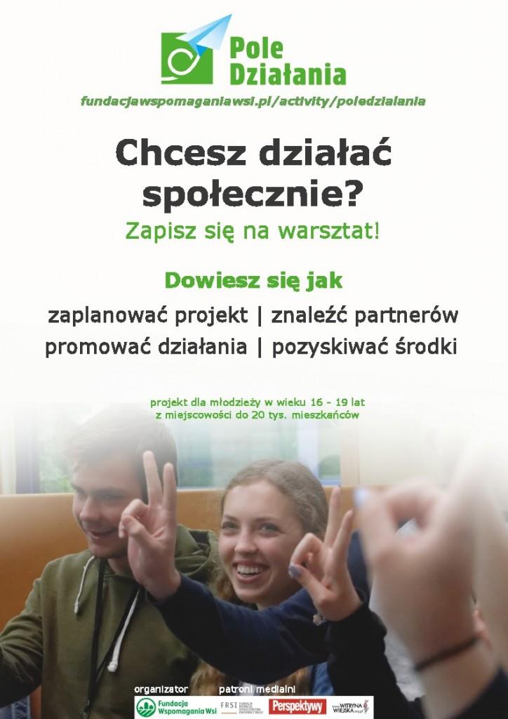 Plakat warsztaty dla młodych aktywistów