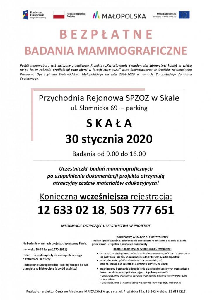 Bezpłatne badania mammograficzne 2020