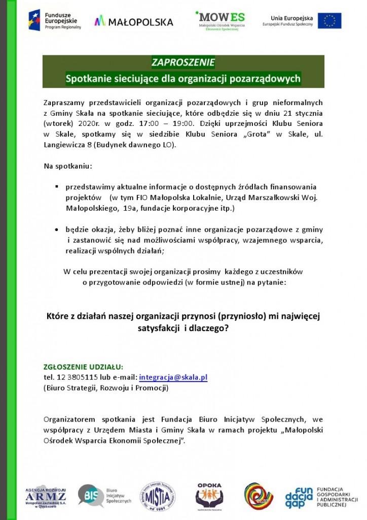 Zaproszenie na spotkanie sieciujące 21.01.2020